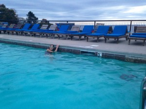 October dusk swim at the Colony Hotel