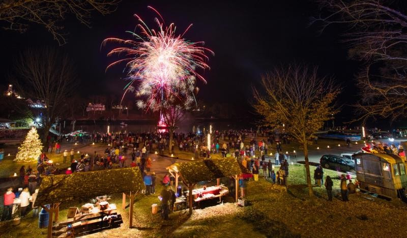 Christmas fireworks in Rockport Harbor - photo by PenBay Pilot